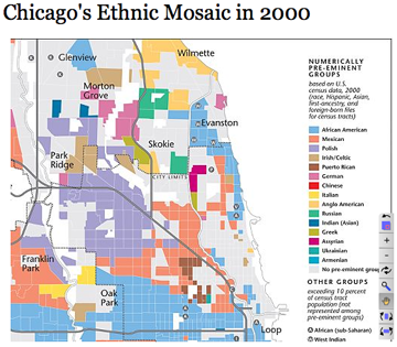 2000 Chicago race map in boxes 360 Touring Chicago's Ethnic Neighborhoods