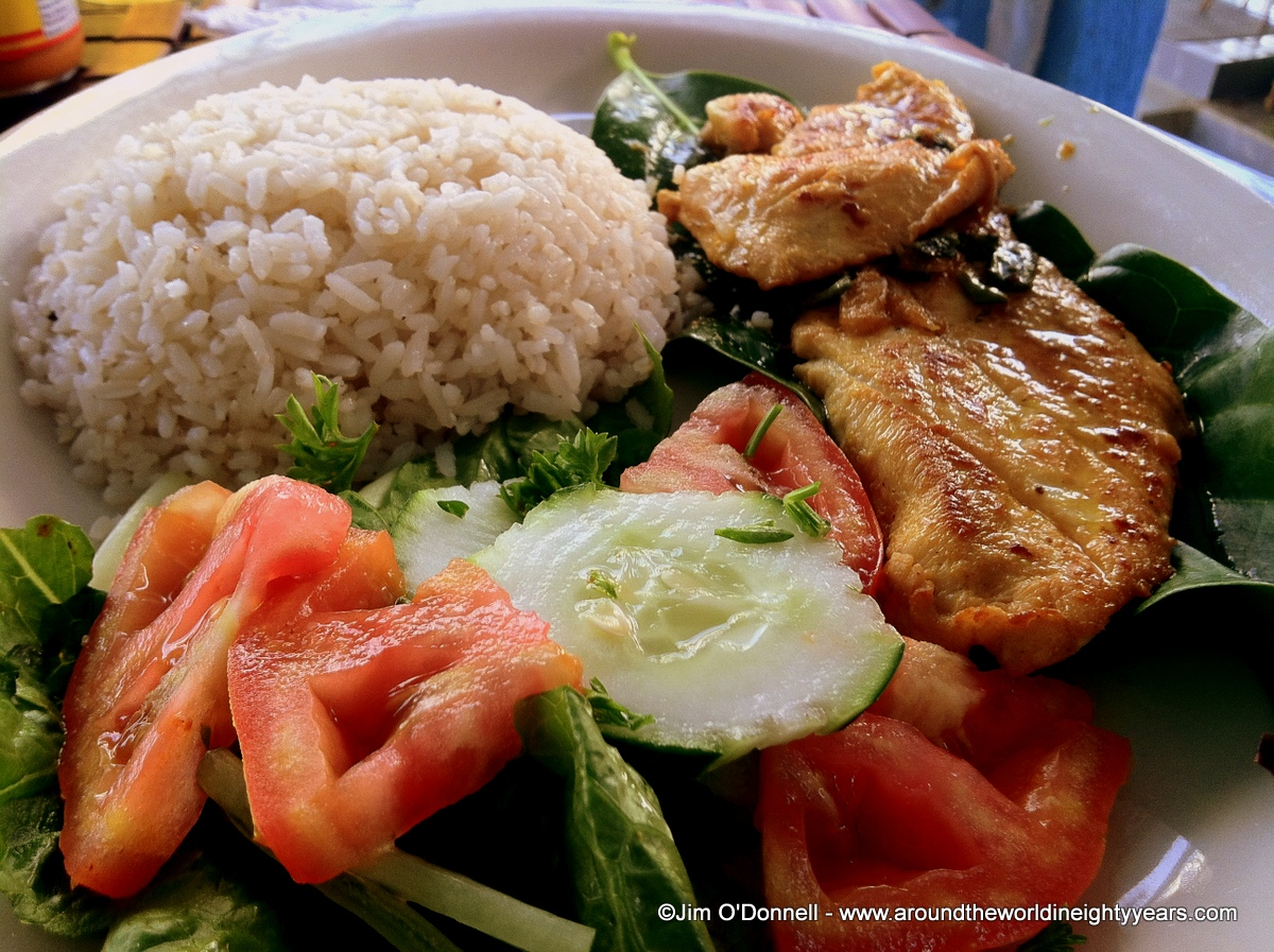Panamanian food fish meat plantains and rice around for Is fish meat